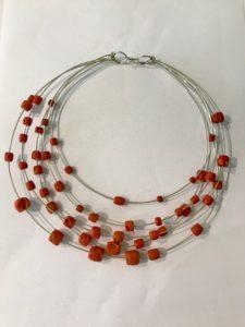 5 fili rigidi argento con coralli