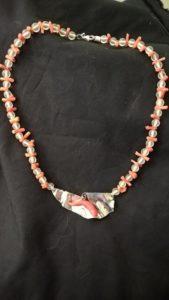 Corallo su argento con coralle e cristallo di rocca