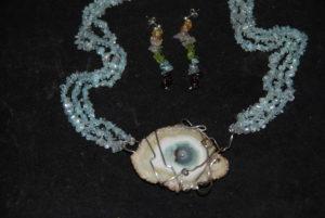 acquamarine con fetta agata azzurra